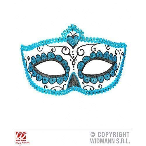 maske Dia de los Muertos mit Borte und Glitzer in weiß - hellblau - schwarz / Halloween / Fasching ()