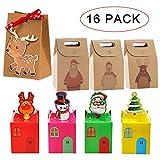 KRUCE Confezione Regalo Natalizia per 16 PC, scatole di Carta Artigianale riutilizzabili per Regali, Caramelle e Biscotti