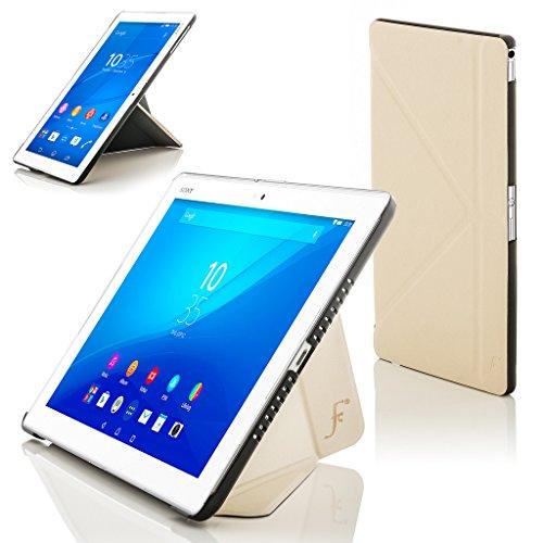 Forefront Cases® Sony Xperia Z4 Tablet-PC (25,6 cm 10,1 zoll) SGP771 (Juni 2015) Origami Hülle Schutzhülle Tasche Bumper Folio Smart Case Cover Stand - Rundum-Geräteschutz und intelligente Auto Schlaf / Wach Funktion (WEIß)