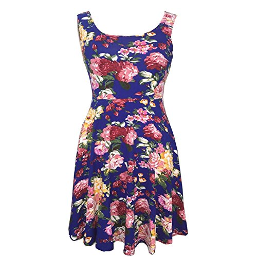 Butterme Womens Casual Fit und Flare Floral Sleeveless Tank Kleid Party Abend Cocktail Mini Kleid (Sleeveless Kleid Tank Floral)
