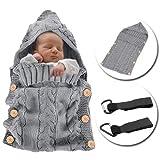 MikeCFMm - Saco de Dormir Unisex para Bebés Recién Nacidos, Ligero, Cálido, de Punto de Ganchillo, para Bebés, Manta para Bebé, Saco de Dormir, Carrito de Bebé, Color Gris (0 – 12 meses)