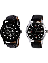 Kajaru KJR-9,10 Round Black Dial Analog Watch Combo For Men (Pack Of 2)
