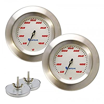 Lantelme 2 Stück Thermometer für Grill/Smoker / Räucherofen/Grillwagen Analog/Bimetall / Edelstahl BBQ Grillzubehör Modell Racing