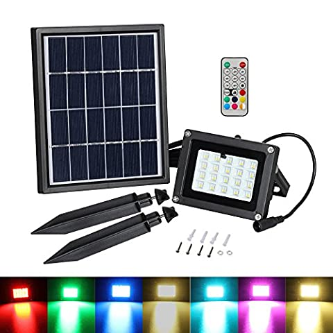 T-SUN 20 LED Solar Flood Light,Colour Changing LED Outdoor Security Floodlight, IP65 Waterproof, Remote Control, Dimmable, for Decking Lighting, Patio Lighting.