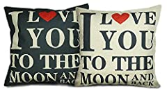 Idea Regalo - Luxbon Set di 2 I Love You To The Moon And Back Federe per Cuscini in Contone Lino Copricuscino Decorativo per Casa Divano Sedia Stanza Letto 45 x 45 cm