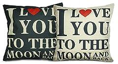 Idea Regalo - Luxbon Set di 2 I Love You To The Moon And Back Federe per Cuscini in Contone Lino Copricuscino Decorativo per Casa Divano Sedia Stanza Letto 45 x 45 cm