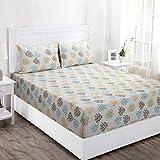 Maspar Superfine 144 TC Cotton Double Bedsheet with 2 Pillow Covers - Floral, Blue