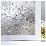 Zindoo Pellicola Privacy per Vetri Finestre 3D Autoadesivo Finestra Decorative Non Adesiva Anti-UV Controllo di Calore per Doccia Ufficio Casa Sala di Riunione 45 x 200cm