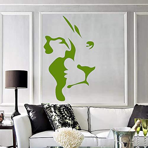 Abstrakte Löwenkopf Vinyl Wandtattoo Afrikanische Tier Raubtier Wandaufkleber Dekoration Zubehör Für Wohnzimmer Wandaufkleber- # 57x94 cm
