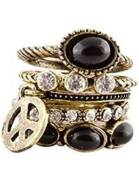 Habors Black Metal Ring For Women (Valentine Gift)