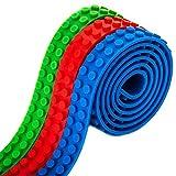 Blocs de construction 3 rouleaux ruban adhésif pour Lego, Lego blocs avec support autocollant de bandes, blocs de construction en silicone Embases pour Lego, 3 couleurs 3 pieds de chaque