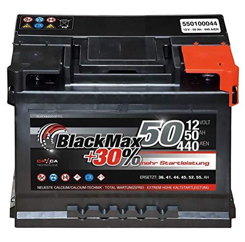 Autobatterie 12V 50Ah BlackMax Starter 30% mehr Leistung ersetzt 36Ah 41Ah 44Ah 45Ah