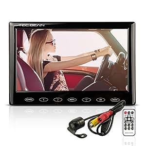 """TEC.BEAN Telecamera Retromarcia per Auto con 7"""" TFT LCD Monitor, Impermeabile Telecamera Posteriore Retromarcia Auto Porta Targa con Funzione MP5, Porta USB, Supporto Scheda Micro SD"""