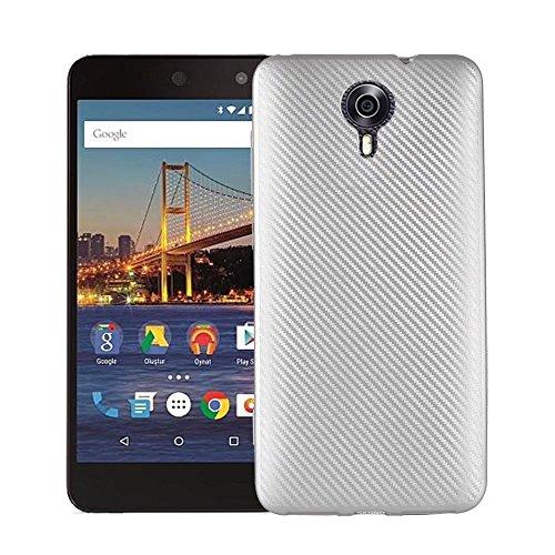 JDDRCASE Handy Zubehör Hüllen, Slim Carbon Fiber Gummi Soft TPU Hybrid Shockproof Case Cover für Google Android One General Mobile 4G / GM5 (Farbe : Silber)