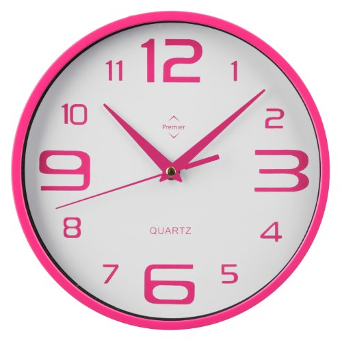 Premier Housewares - Reloj de pared, color rosa