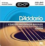 D\'Addario Cordes en bronze phosphoreux pour guitare acoustique 12 cordes avec revêtement D\'Addario , Light, 10-47