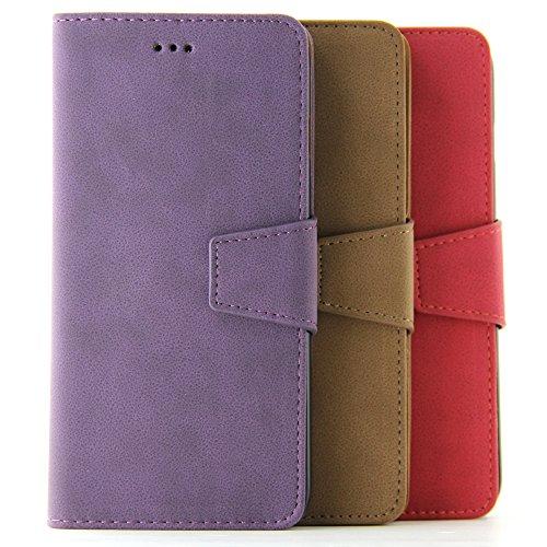 BELK Etui für iPhone 6/6S Plus 5.5 Zoll (14cm)-2-in-1Wildlederhülle Retro-Etui mit Magnetischer Abnehmbarer Hartschale + Displayschutzfolie 6 plus purple 5.5