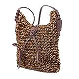 Borsa a spalla da donna Borsa a spalla da donna Tote Borsa da spiaggia con tracolla in tessuto intrecciato Coffee Shoulder bag