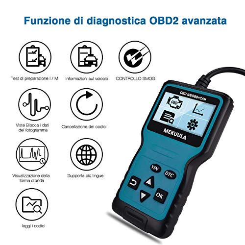 MEKUULA OBD2 Auto Diagnostica Tool Lettore Codice Auto OBD II Code Scanner 12V Dispositivo di Diagnostica Adatto per Maggior Parte Auto