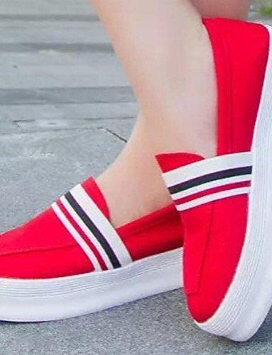 ShangYi Scarpe Donna - Mocassini - Casual - Punta arrotondata - Piatto - Finta pelle - Nero / Rosso / Bianco Red
