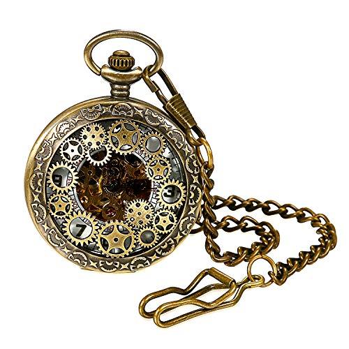 Damen Herren Steampunk Automatik mechanische Taschenuhr Bronze, LANCARDO Retro Zahnrad Ritzel Mechanische Kettenuhr Skelett Uhr mit Halskette Kette