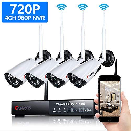 4CH 720P HD Überwachungskamera Aussen WLAN Set, CANAVIS Wireless NVR System Funk Überwachungsset, 4 X 1.0MP WiFi Outdoor Netzwerk Außen IP Überwachungskamera Kabellos, Keine HDD (4 Wireless-kamera-sicherheitssystem)