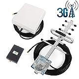 Proutone Amplificador de Señal Banda Dual gsm 900MHz 3G WCDMA 2100MHz con Panel Antena Interior y Yagi Antena Exterior con Cable de 10m para Uso de Edificios, Casa,Oficina y Ranchos
