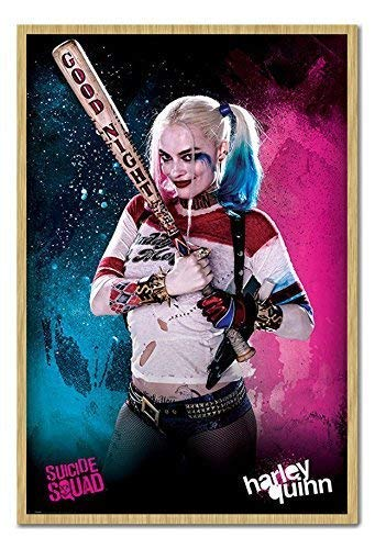 (Suicide Squad Harley Quinn Poster Kork Pinnwand Buchenholz-Rahmen, 96,5x 66cm (ca. 96,5x 66cm))