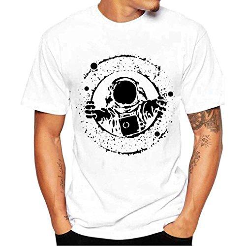 MOIKA Herren T Shirt New Männer Printing Tees Shirt Kurzarm T Shirt Bluse Party, Täglich, Strand(L4,Weiß)
