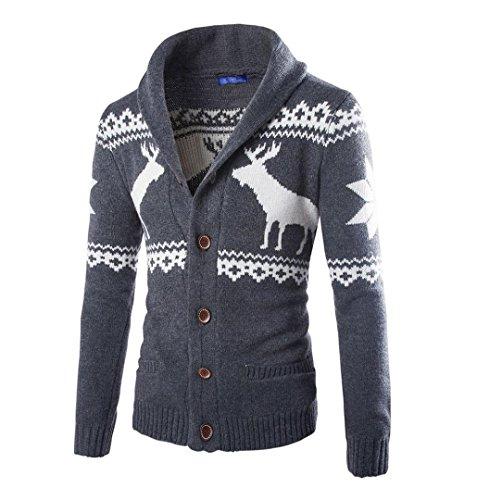 ✽ZEZKT-Herren Weihnachten Strickjacke Sport Männer Mantel Winter Hirsch Pullover Jacke Lange ärmel Sweatshirt Crewneck Druck Langarm T-Shirt Weihnachtlichen Motiven (M, Dunkelgrau) (Hoch 50 Crewneck)