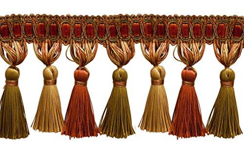 Elegante 33/10,2cm lang kupfer, Olive Grün, Light Gold Quaste Fransen-Rost 07(Verkauft von der Hof) -