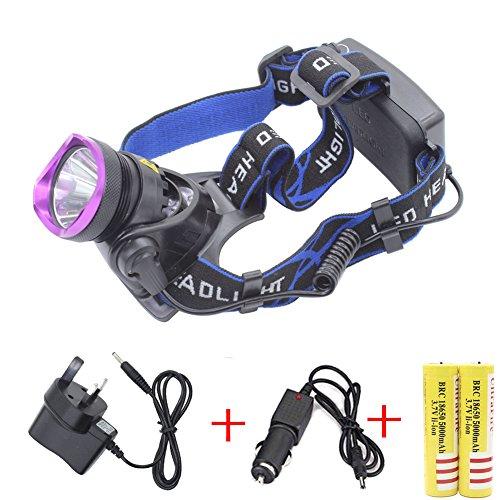 Genwiss Stirnleuchte CREE XM-L XML T6LED 5000LM, 3-Modi-Design, Outdoor-/Sport-Kopflampe/LED-Licht/Taschenlampe, wasserdicht, mit 5000mAh 2x wiederaufladbare 18650Batterien + Ladegerät (UK-Stecker) und - Switch Light Running