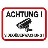 1 Stück Aufkleber Achtung Videoüberwachung 120x90 mm, selbstklebend, kratz und Wetterfest