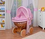 WALDIN Baby Stubenwagen-Set mit Ausstattung,XXL,Bollerwagen,komplett,44 Modelle wählbar,Gestell/Räder lackiert,Stoffe rosa/kariert