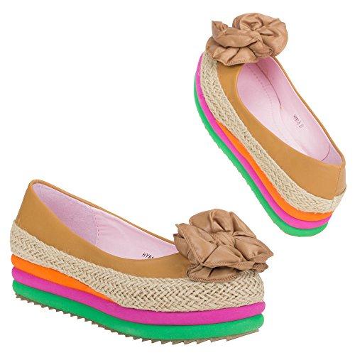 Ital-Design - Scarpe con plateau Donna Multicolore (Cammello/Multicolore)