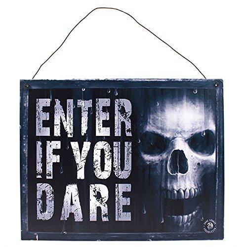 Placa Ann Stokes de metal con inscripción «Enter if you dare»...