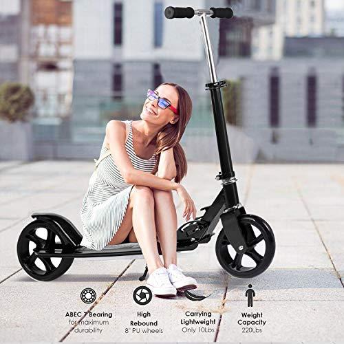 Hiriyt Leicht Scooter T-Style Stabile, aus Aluminiumlegierung, Klappbar und Höhenverstellbar, Big Wheel 195mm Räder Cityroller für Erwachsene (Schwarz)
