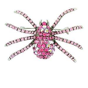 Body Bling Brosche Spinne versilbert Pink