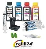 Refill24 Kit de recharge pour cartouches d'encre HP303/303XL Noir et couleur Avec support et accessoires Non OEM