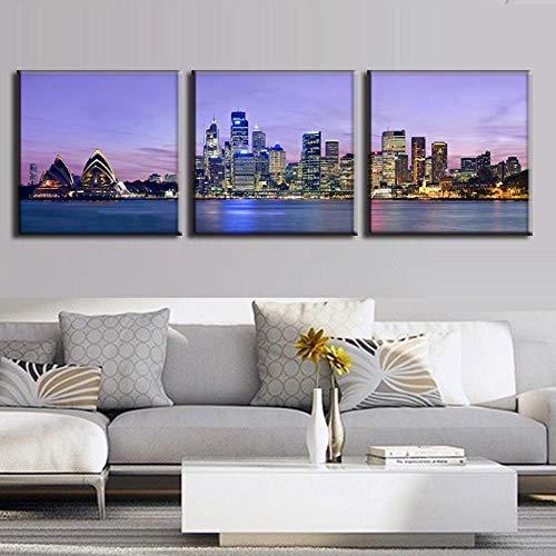 Mainstream home 3 Stück/Set The Night of Sydney Landschaft Leinwand-Malerei Wand-Kunst-Bild Moderne Wandgemälde mit Rahmen Top Dekoration, 24x24x3P, Innenrahmen -