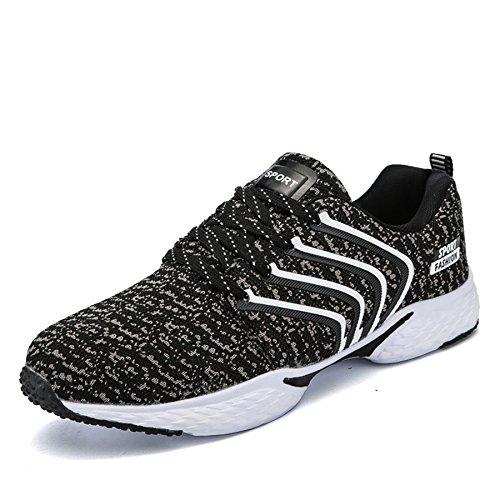 Outdoor Sport Running Schuhe Leicht Schnürer Wander Sneakers Herren Freizeit Straßen Laufschuhe Mesh Atmungsaktiv Fitness Turnschuhe, Schwarz 44