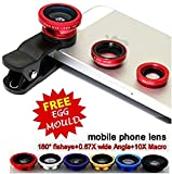 #2: Voltac Universal Mobile Camera Lens Clip-On 3 In 1 Kit, 180 Degree Fisheye Lens With Stainless Steel Egg Mould