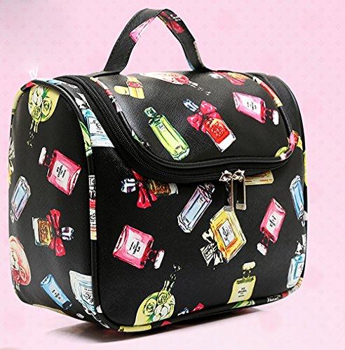 CLOTHES- Sacchetto cosmetico portatile di versione coreana Sacchetto portatile ad alta capacità portatile sacchetti di plastica impermeabili di viaggio di viaggio di immagazzinaggio dei cosmetici di c Black perfume bottle