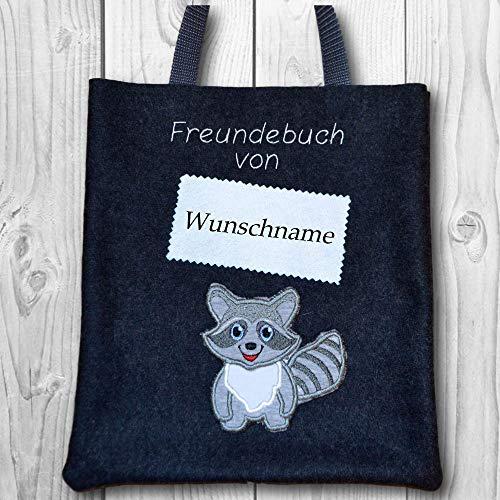 (Freundebuchtasche mit Name - Wollfilz gefüttert - Text & Farben anpassbar - Motiv: Waschbär)