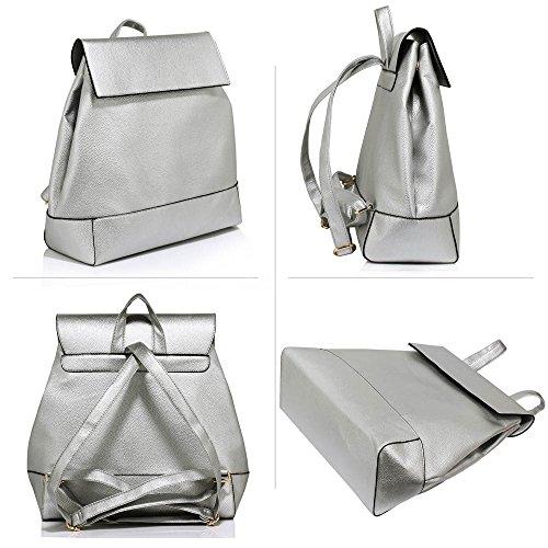 Rucksack Für Mädchen Laptop Tasche Schule Faux Leder Berühmtheit Stil Designer Rucksack (A - Gold) A - Silber