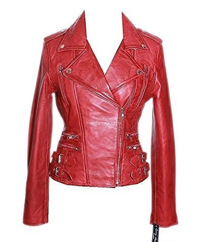 Jessie Red Rock Chic pour Femmes rétro en forme de mouton en cuir véritable souple pour femme - Rouge - 38