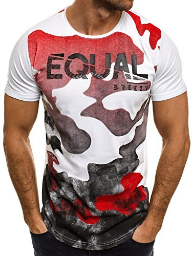 OZONEE Herren T-Shirt mit Motiv Kurzarm Rundhals Figurbetont BREEZY 548 Weiß-Rot