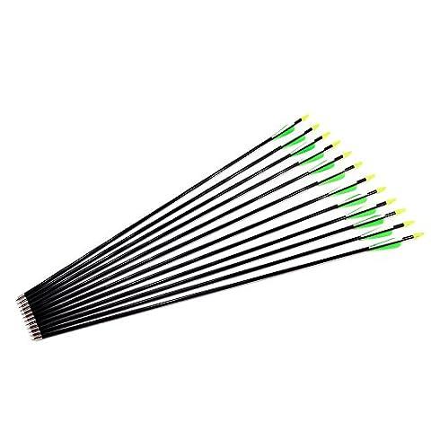 12Pcs Green Hunting Arrow Hunter Nocks Fletched Arrows Fiberglass Target Practice Arrow 28