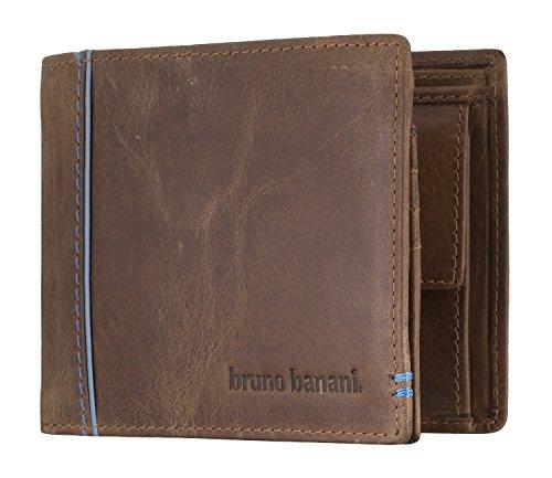bruno banani Männer Geldbörse aus Echt Leder im Querformat, Designer Geldbeutel für Herren - Cognac & Blau 4895