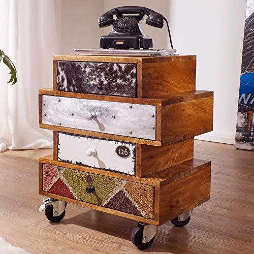 FineBuy Sideboard Jolin 50 x 35 x 61 cm Anrichte mit 4 Schubladen Massivholz | Kommoden-Schrank Industrie Design | Mehrfarbig Kommode mit Rollen | Schubladenkommode modern